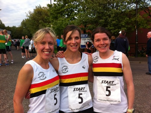 Pauline AITCHISON, Ella BROWN and Jo GASCOIGNE-OWENS-2nd place at the Wallsend Relays 2014!