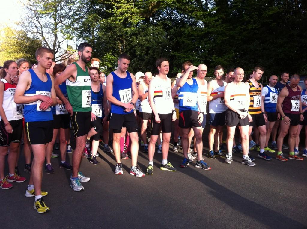 Runners mingle at the Les Allcorn 10k start