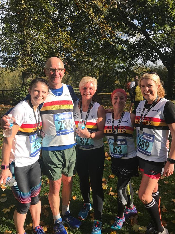 The Alnwick Harriers quintet at Hexham 10k.