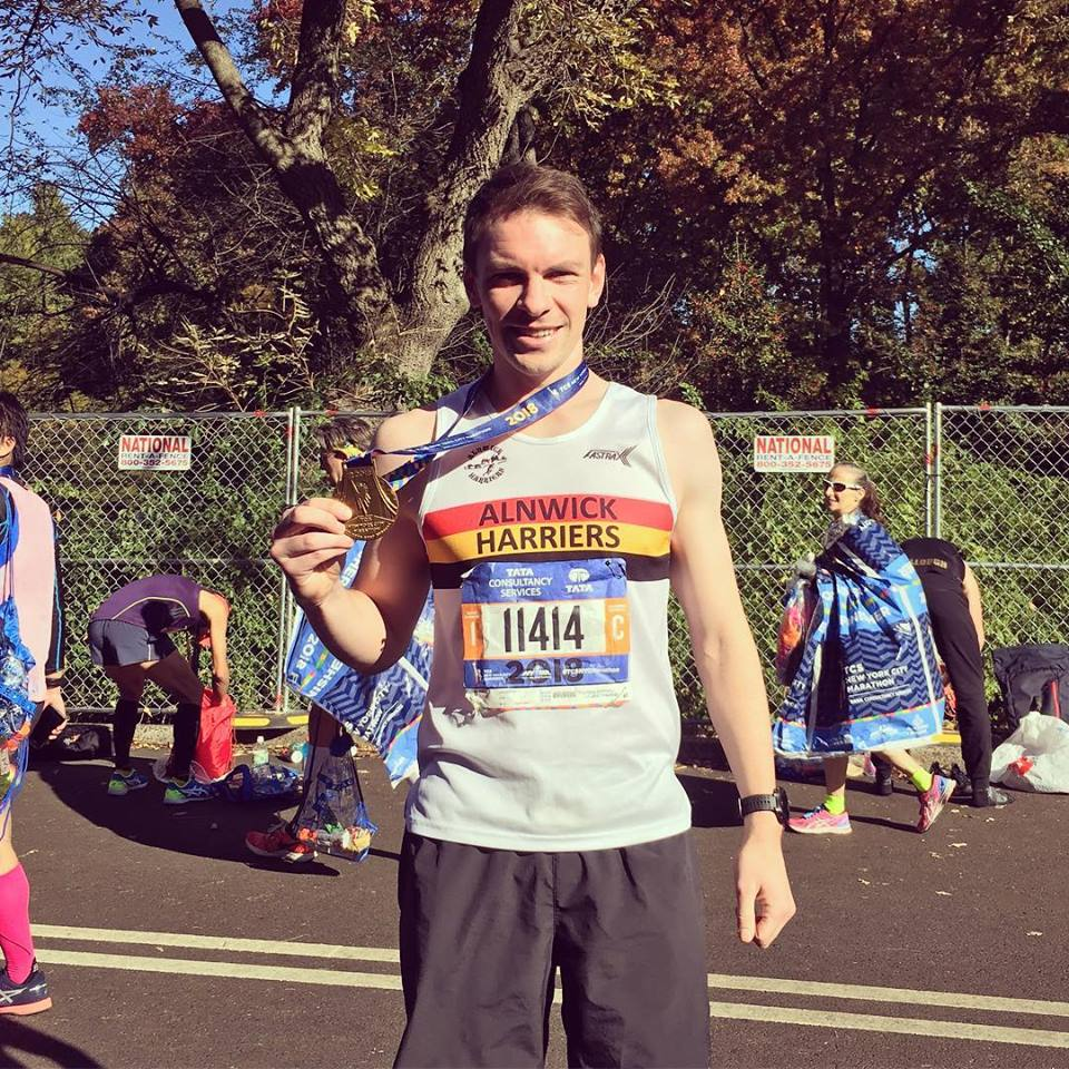 Jon Archer with his New York Marathon medal.