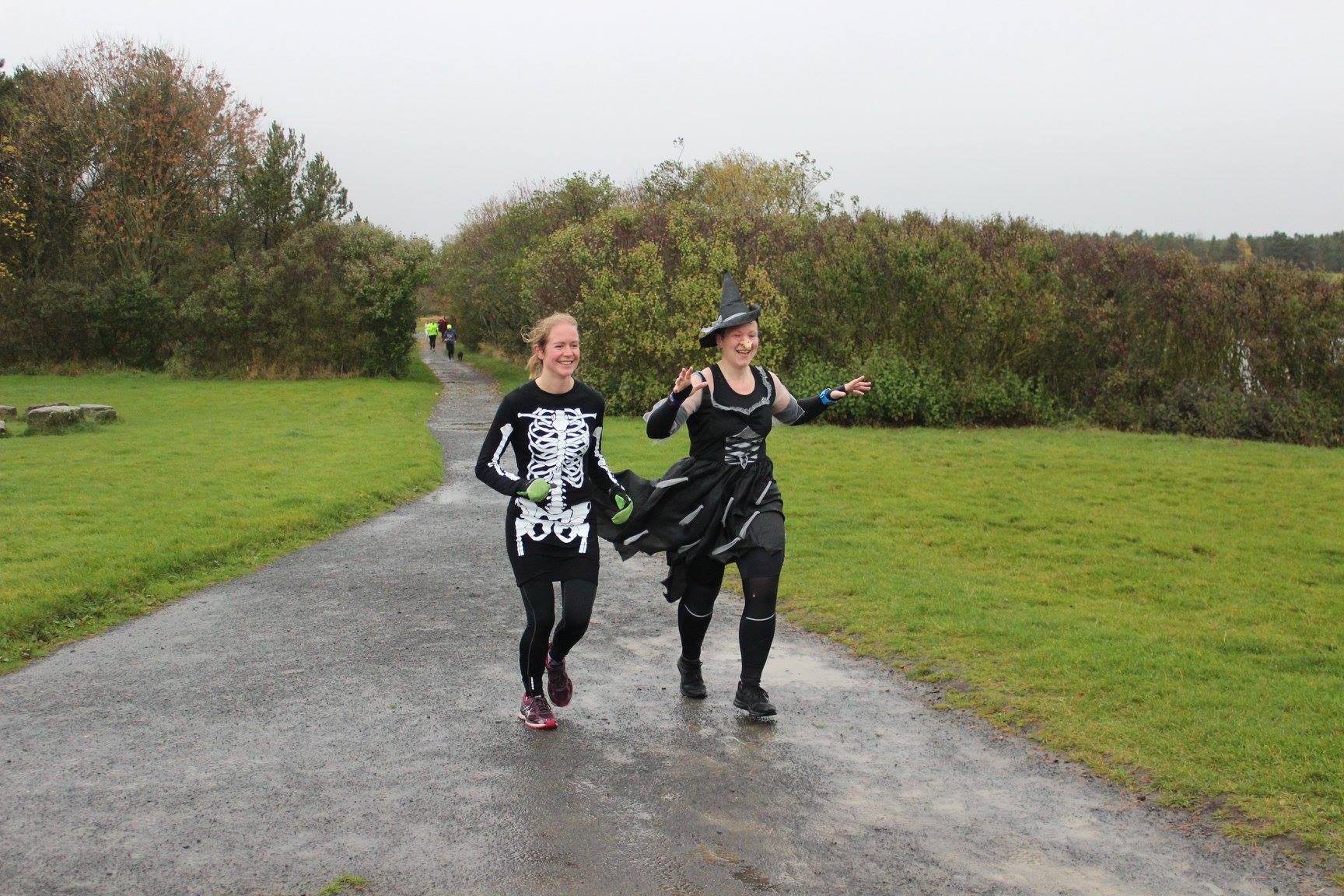 Alice Tetley-Paul and Georgina Tetley-Paul dressed for Hallowe'en at Druridge Bay parkrun.